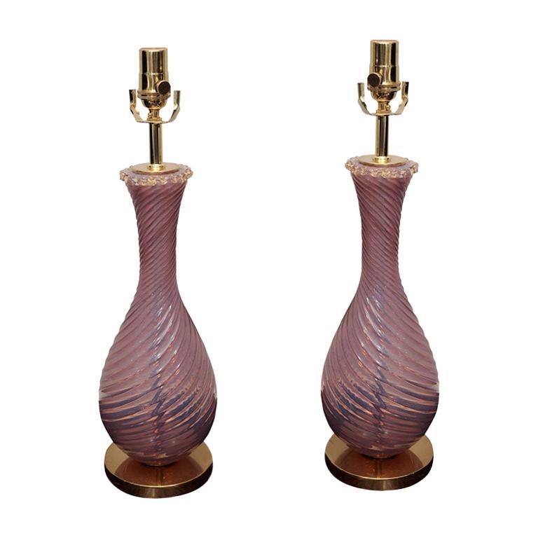 Pair of Pink Murano Lamps