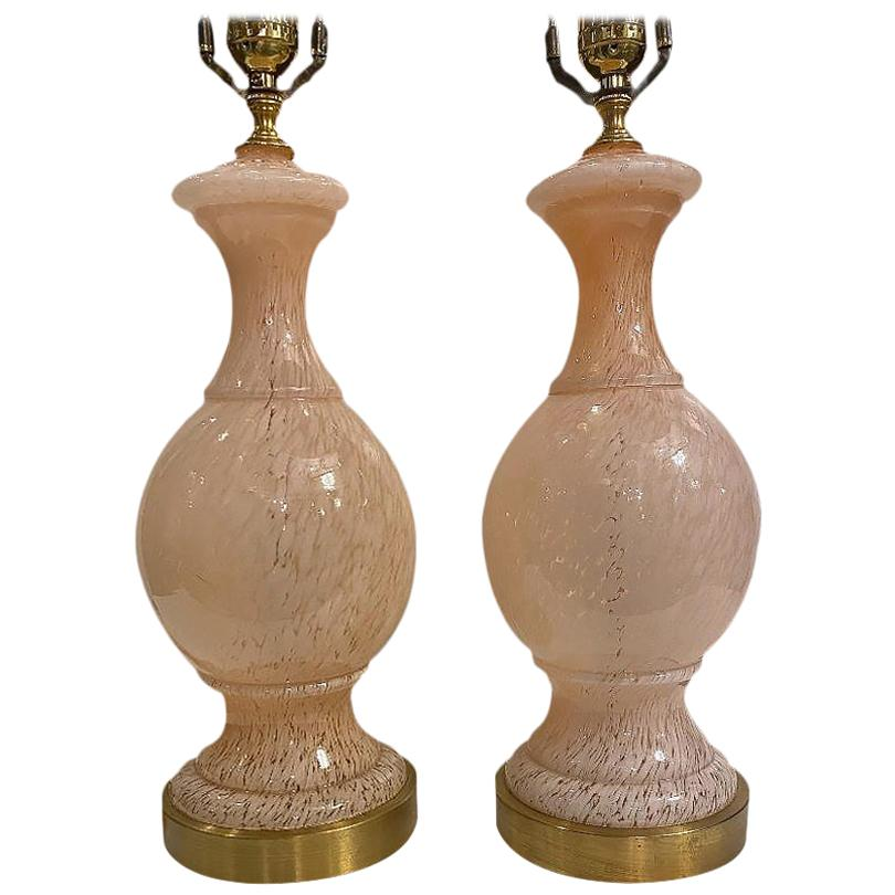 Pair of Pink Murano Table Lamps