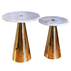 Pair of Pink Onyx and Brass Pedestals