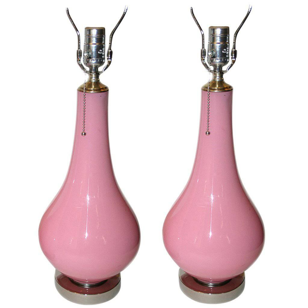 Pair of Pink Opaline Glass Lamps