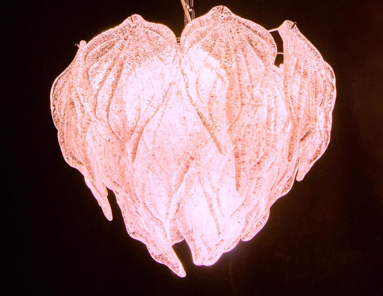 Pair of Pink Polar Murano Glass Chandelier, Italy, 1970s For Sale 4