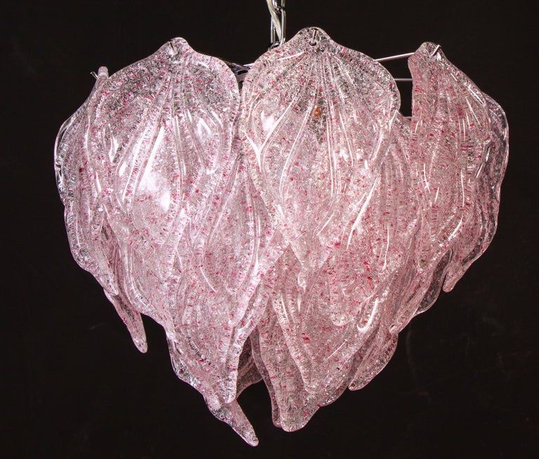 Pair of Pink Polar Murano Glass Chandelier, Italy, 1970s For Sale 6