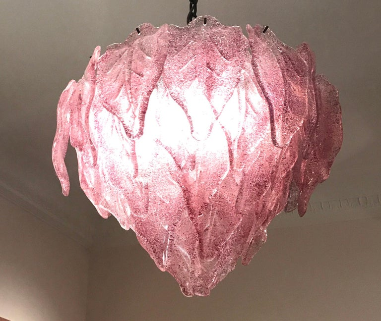 Mid-Century Modern Pair of Pink Polar Murano Glass Chandelier, Italy, 1970s For Sale