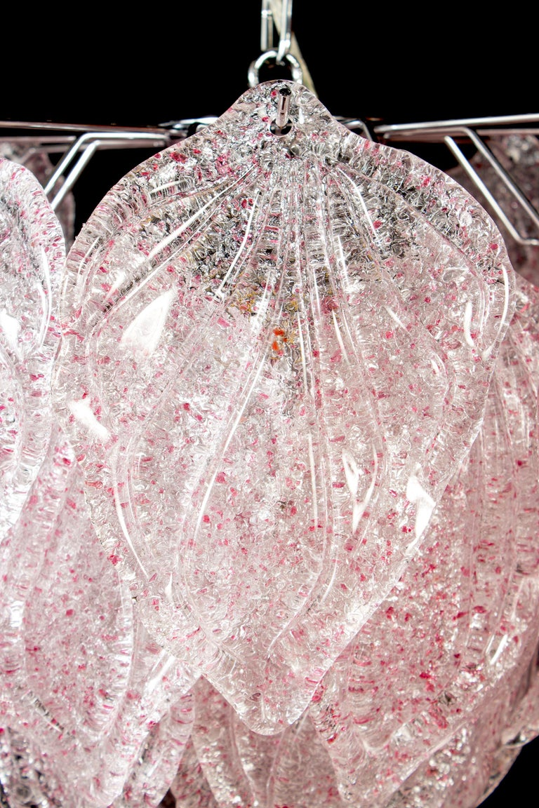 Pair of Pink Polar Murano Glass Chandelier, Italy, 1970s For Sale 1