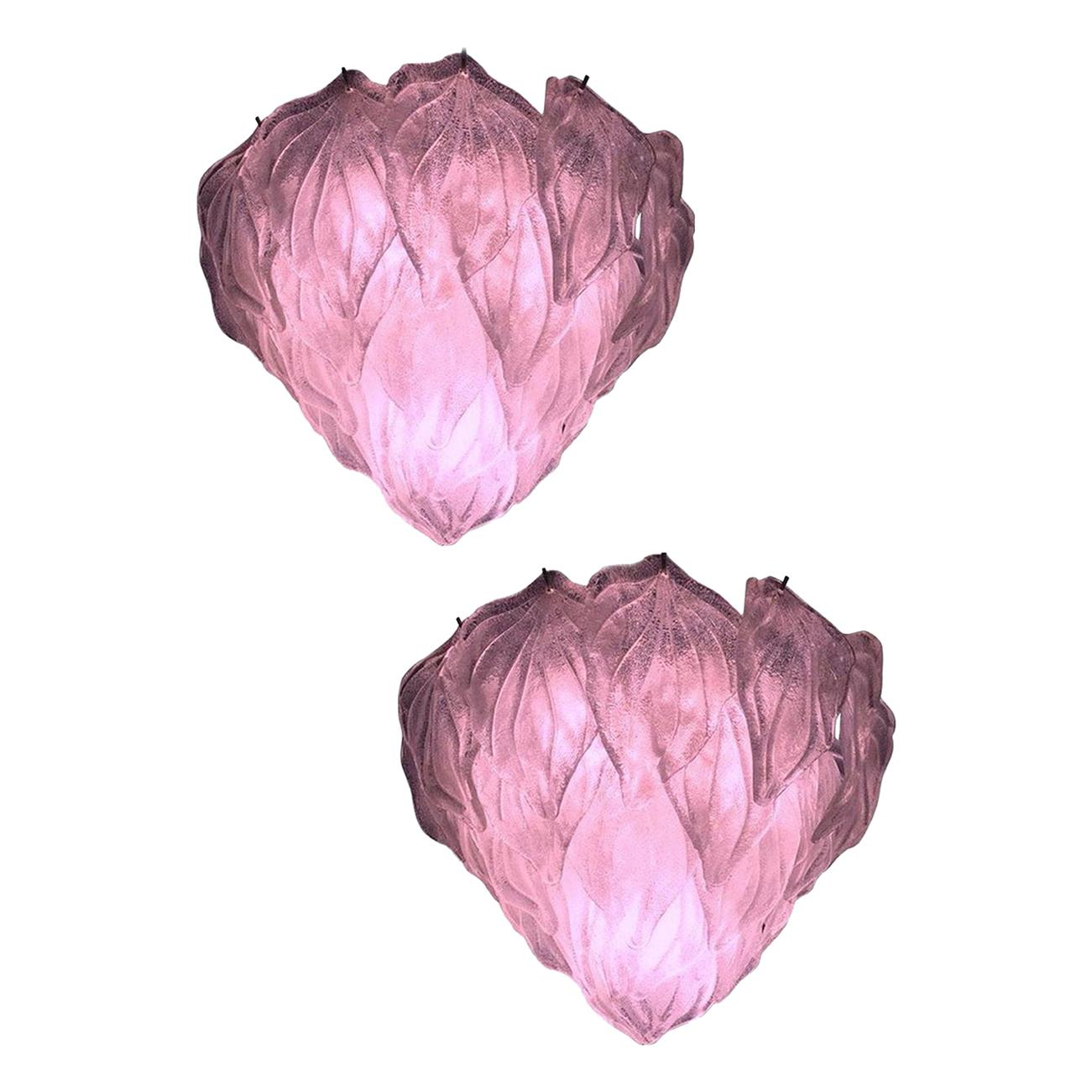 Pair of Pink Polar Murano Glass Chandelier, Italy, 1970s