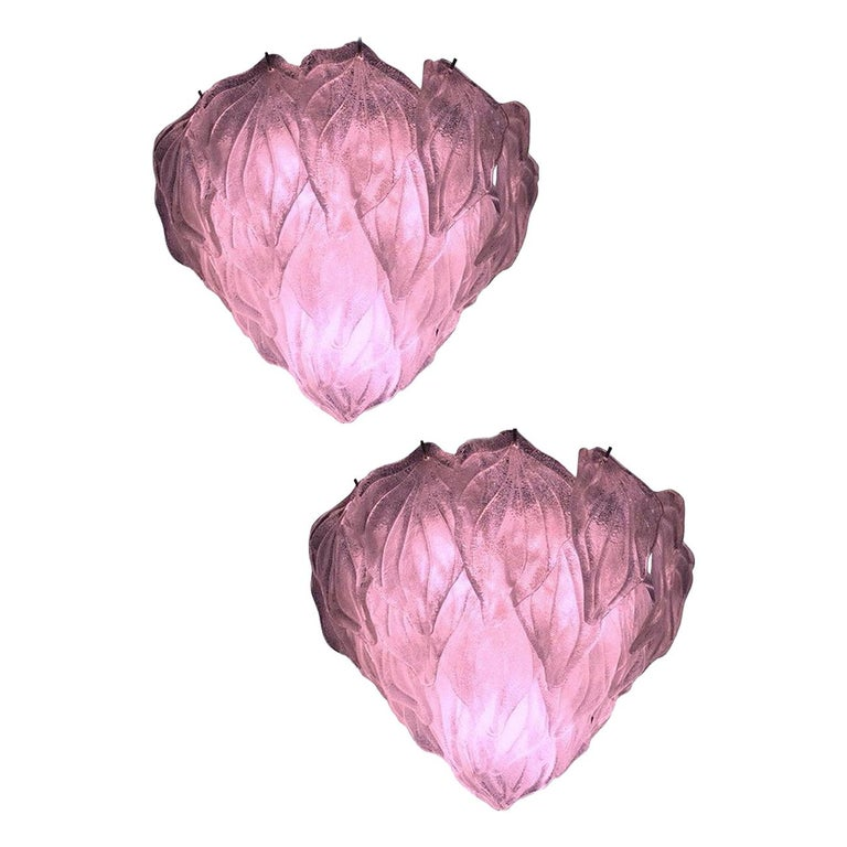 Pair of Pink Polar Murano Glass Chandelier, Italy, 1970s For Sale