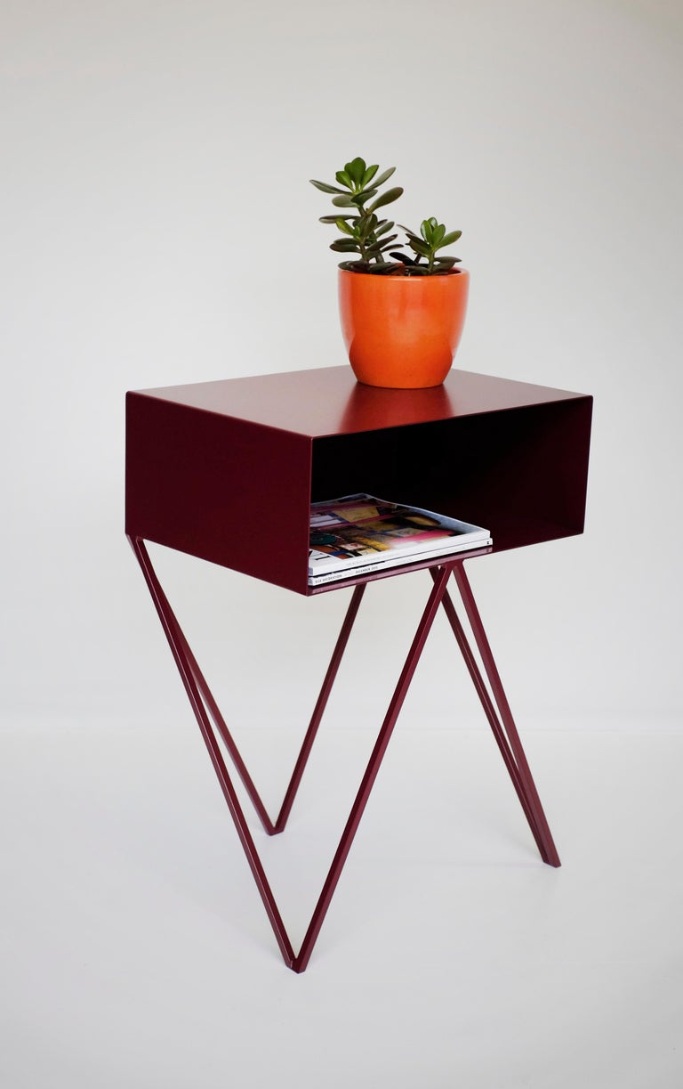 Contemporary Pair of Pink Powder Coated Steel Robot Bedside Tables For Sale