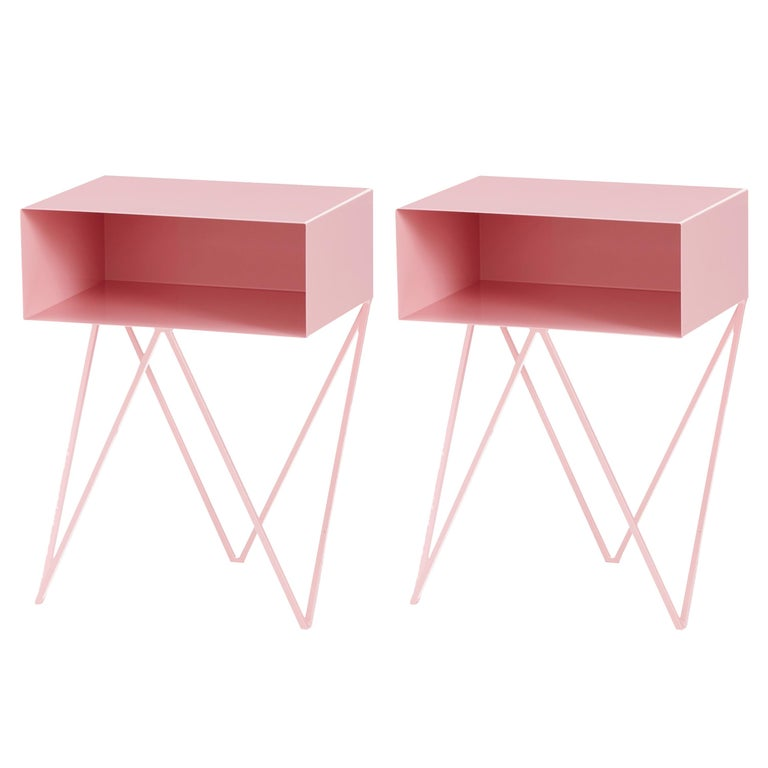 Pair of Pink Powder Coated Steel Robot Bedside Tables For Sale