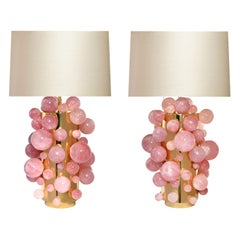 Pair of Pink Rock Crystal Bubble Lamps by Phoenix