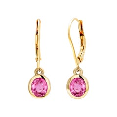 Pair of Pink Sapphire Gold Hoop Earrings Weighing 1.65 Carat
