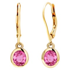 Pair of Pink Sapphire Gold Hoop Earrings Weighing 1.65 Carat