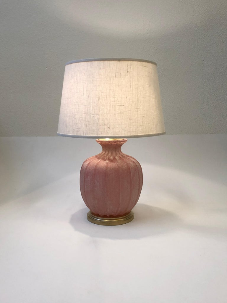 Pair of Pink Scavo Murano Glass Table Lamps by Seguso Vetri d'Arte For Sale 5