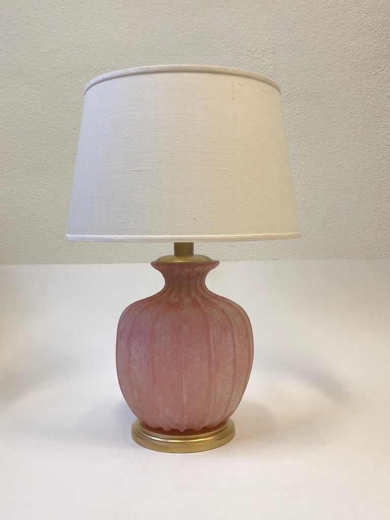 Pair of Pink Scavo Murano Glass Table Lamps by Seguso Vetri d'Arte For Sale 6