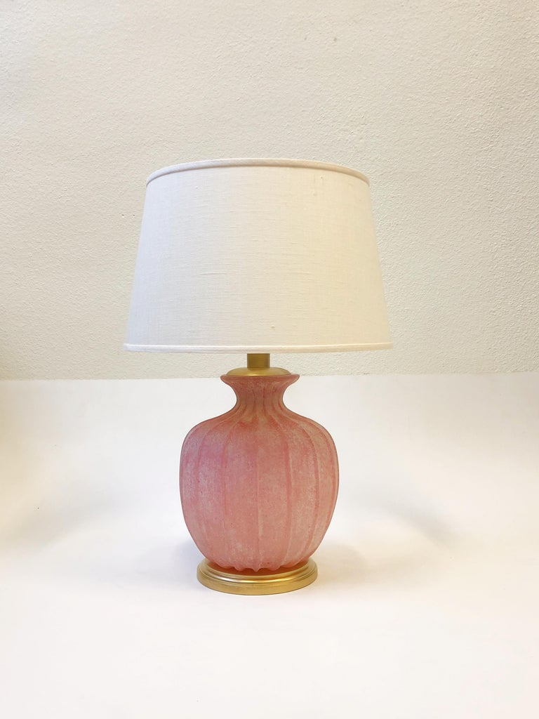 Pair of Pink Scavo Murano Glass Table Lamps by Seguso Vetri d'Arte For Sale 7
