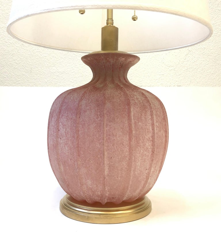 Pair of Pink Scavo Murano Glass Table Lamps by Seguso Vetri d'Arte For Sale 8