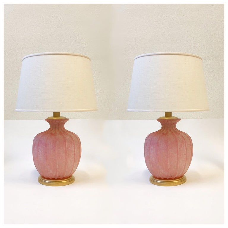 Pair of Pink Scavo Murano Glass Table Lamps by Seguso Vetri d'Arte For Sale 10