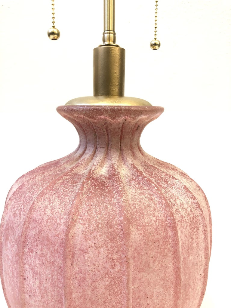 Pair of Pink Scavo Murano Glass Table Lamps by Seguso Vetri d'Arte For Sale 1