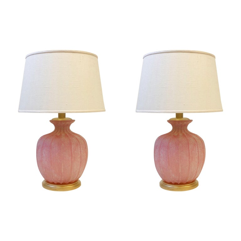 Pair of Pink Scavo Murano Glass Table Lamps by Seguso Vetri d'Arte For Sale