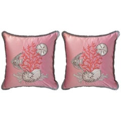 Pair of Pink Silk Satin Pillows with Embroidered Sea Life with Velvet Back