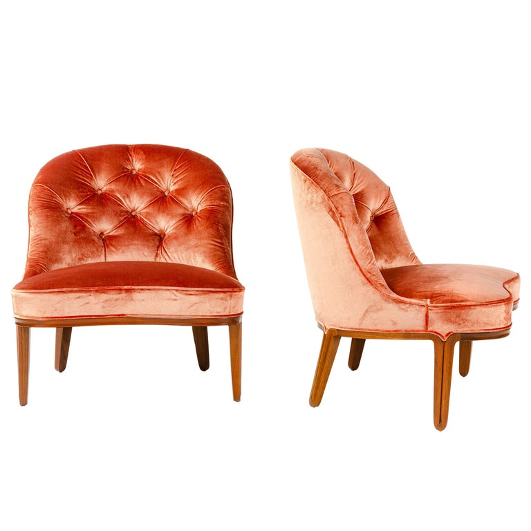 Pair of Pink Slipper Chairs by Edward Wormley for Dunbar For Sale