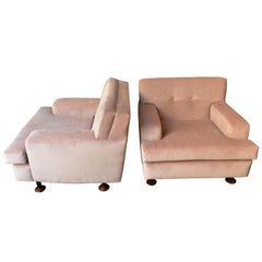 "Pair of Pink ""Square"" Armchairs by Marco Zanuso for Arflex, Italy, Early 1960s"