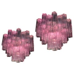 Pair of Pink Tronchi Murano Glass Chandelier by Toni Zuccheri for Venini, 1970s