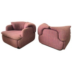 "Pair of Pink Tweed ""Confidential"" Chairs by Alberto Rosselli for Saporiti Italia"