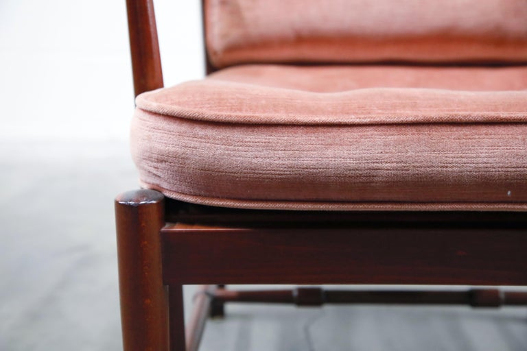 Pair of Pink Velvet and Rosewood Armchairs by Aksel Sorensen, 1970s, Signed For Sale 4
