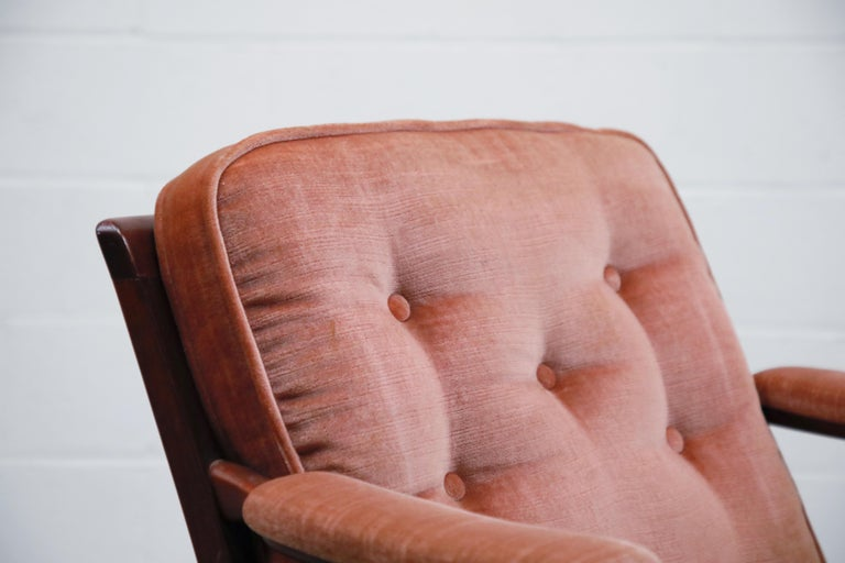 Pair of Pink Velvet and Rosewood Armchairs by Aksel Sorensen, 1970s, Signed For Sale 5