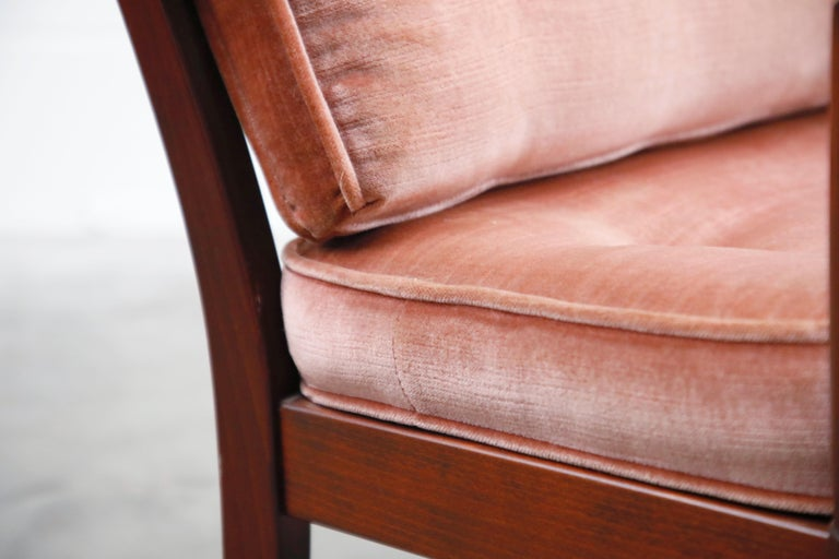Pair of Pink Velvet and Rosewood Armchairs by Aksel Sorensen, 1970s, Signed For Sale 7