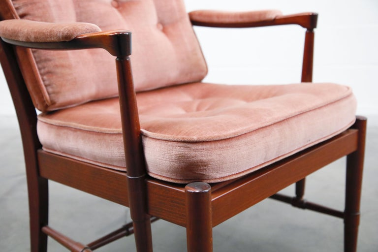Pair of Pink Velvet and Rosewood Armchairs by Aksel Sorensen, 1970s, Signed For Sale 9
