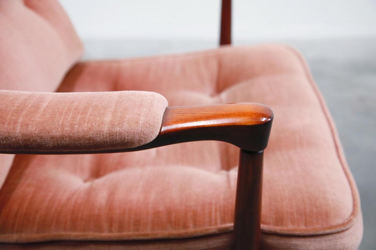 Pair of Pink Velvet and Rosewood Armchairs by Aksel Sorensen, 1970s, Signed For Sale 11