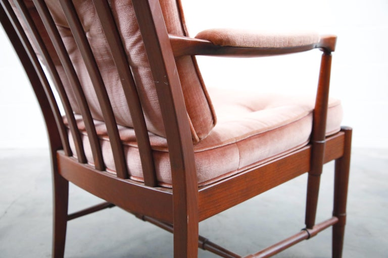 Pair of Pink Velvet and Rosewood Armchairs by Aksel Sorensen, 1970s, Signed For Sale 13