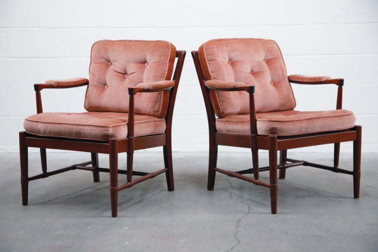 Scandinavian Modern Pair of Pink Velvet and Rosewood Armchairs by Aksel Sorensen, 1970s, Signed For Sale
