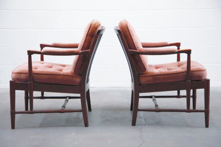 Danish Pair of Pink Velvet and Rosewood Armchairs by Aksel Sorensen, 1970s, Signed For Sale