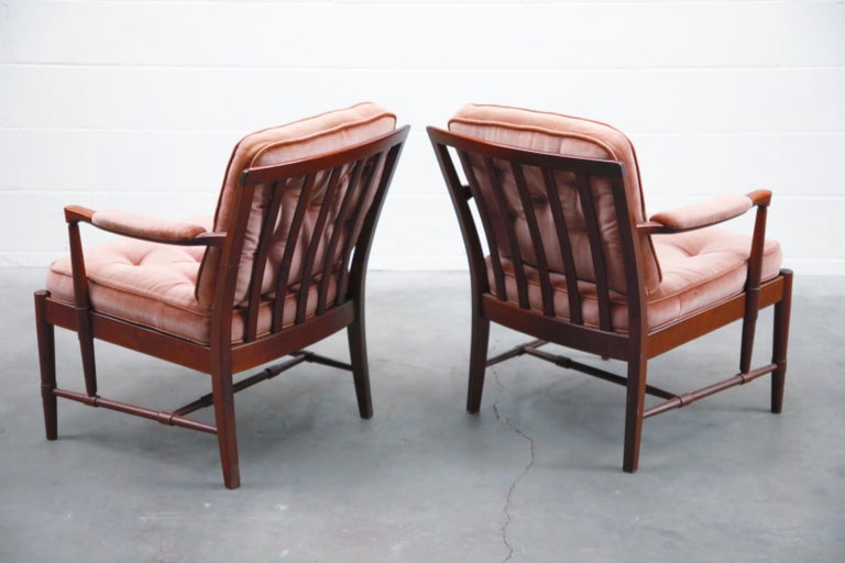 Pair of Pink Velvet and Rosewood Armchairs by Aksel Sorensen, 1970s, Signed In Good Condition For Sale In Los Angeles, CA