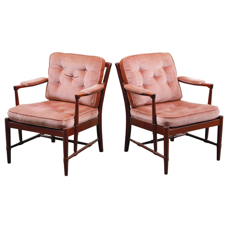 Pair of Pink Velvet and Rosewood Armchairs by Aksel Sorensen, 1970s, Signed For Sale