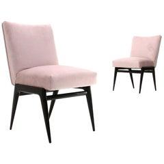 Pair of Pink Velvet Armchairs, 1950s