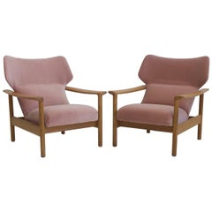 Pair of Pink Velvet Armchairs with Oak Frame