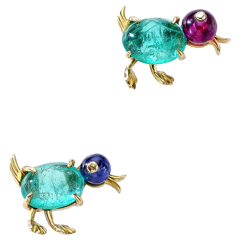 Pair of Pins Clips Ear Studs Baby Ducks Emerald Sapphire Ruby For Sale