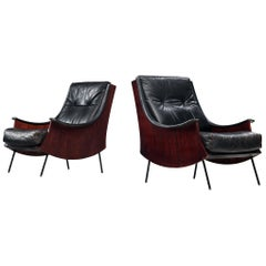 Pair of 'PIPA' Lounge Chairs by Carlo de Carli in Rosewood and Black Leather