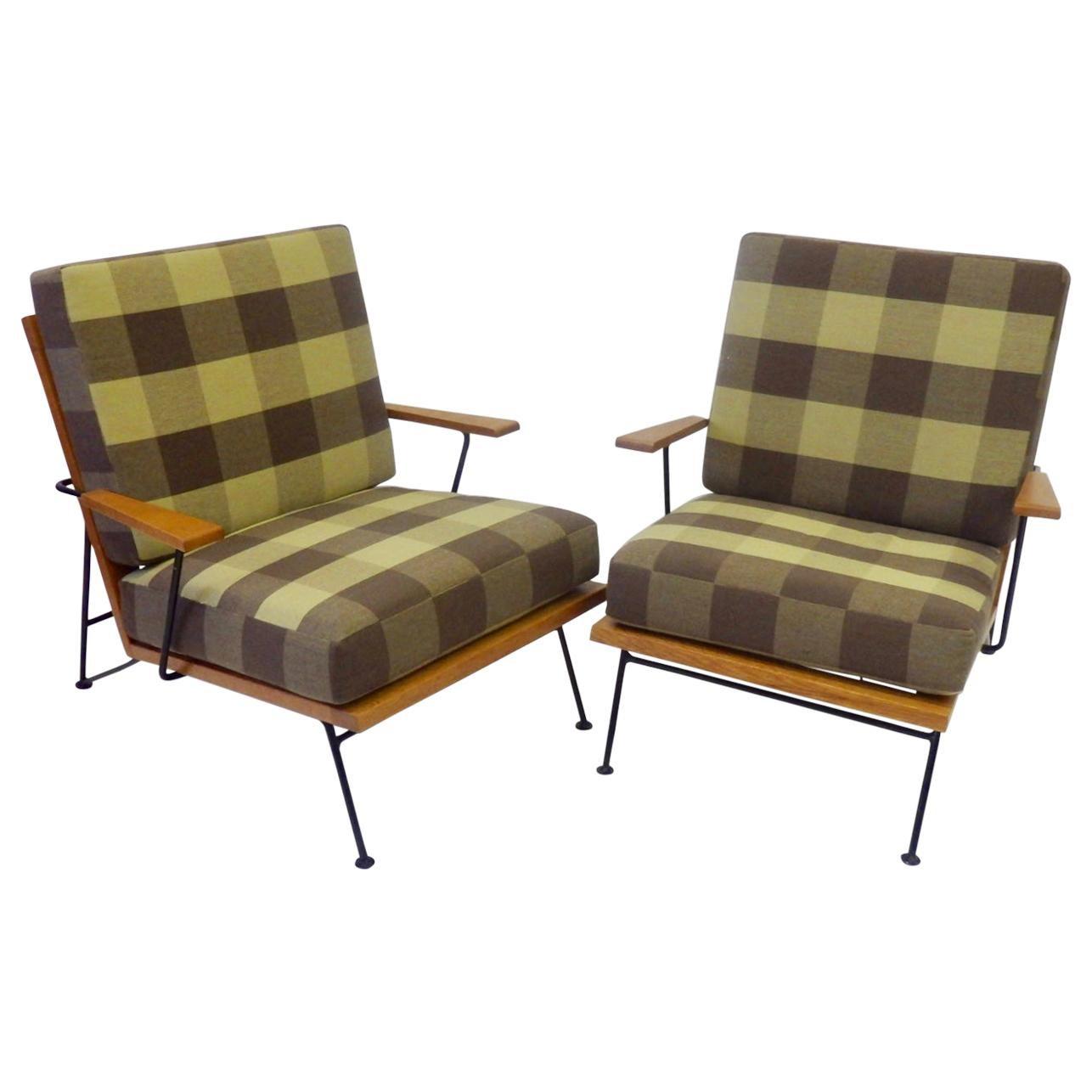 Pair of Pipsan Saarinen Robert Swanson Wood on Wrought Iron Frame Lounge Chairs