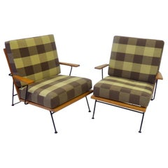Pair of Pipsan Saarinen Robert Swanson Wood on Wrought Iron Frame Lounge Chairs
