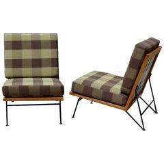 Pair of Pipsan Saarinen Swanson Wood Frame Wrought Iron Leg Lounge Chairs