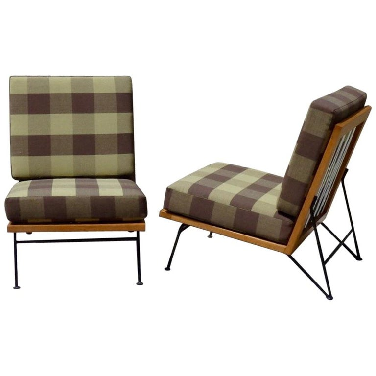 Pair Of Pipsan Saarinen Swanson Wood Frame Wrought Iron Leg Lounge Chairs For