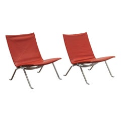 Pair of PK 22 Lounge Chairs by Poul Kjearholm, Denmark, Oxblood Leather