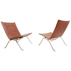Pair of PK22 Chairs by Poul Kjaerholm for E. Kold Christensen