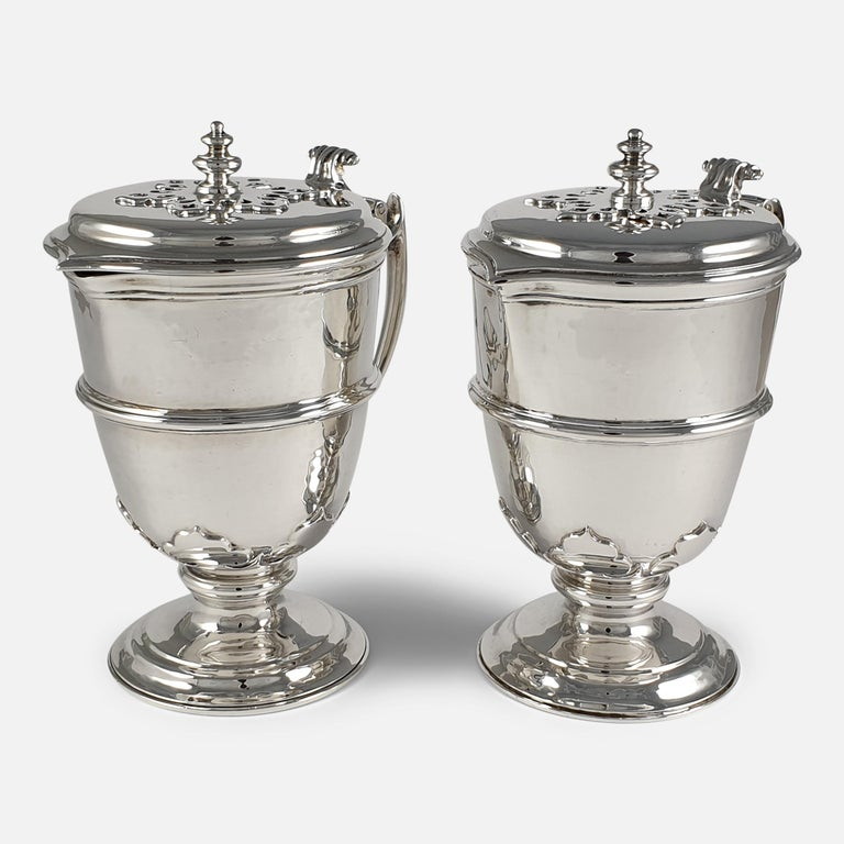 Pair of Planished Sterling Silver Jugs; Johnson, Walker and Tolhurst, 1935 For Sale 4
