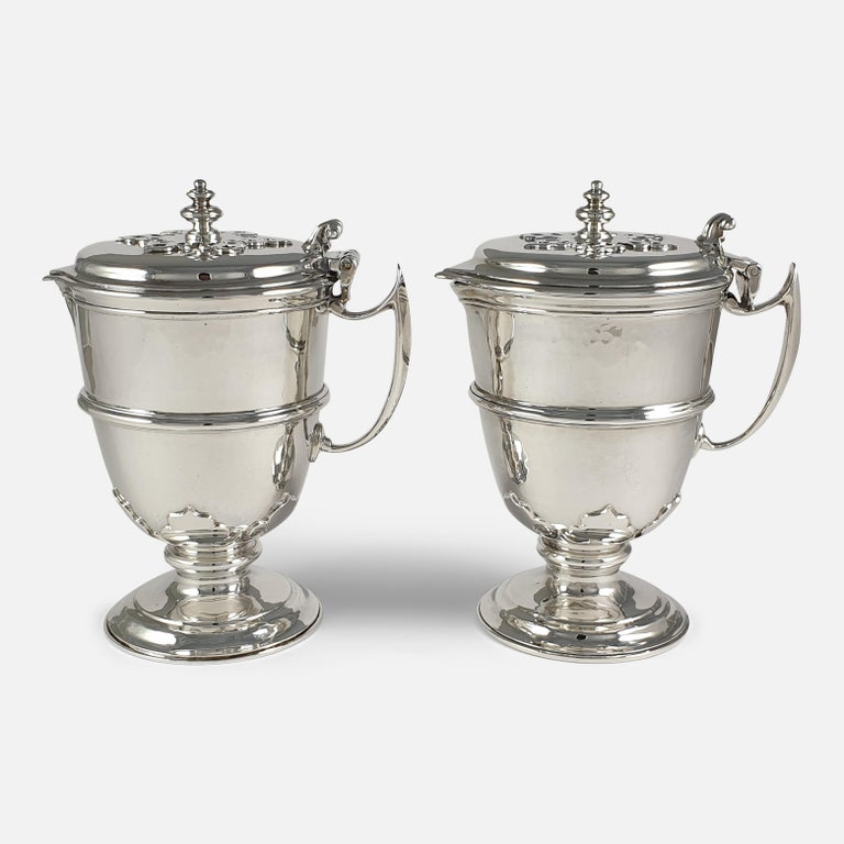 Arts and Crafts Pair of Planished Sterling Silver Jugs; Johnson, Walker and Tolhurst, 1935 For Sale