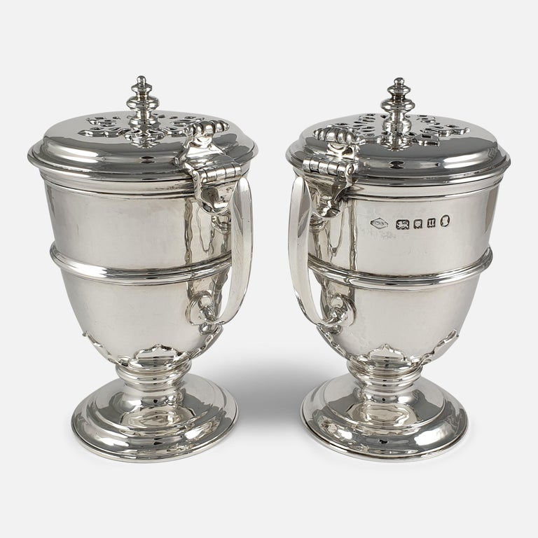 British Pair of Planished Sterling Silver Jugs; Johnson, Walker and Tolhurst, 1935 For Sale